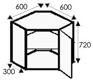 Кухни на заказ, размеры каркасов угловых навесных шкафов
