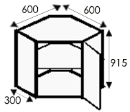 Кухни, размеры каркасов угловых навесных шкафов
