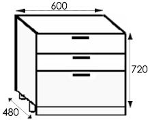 Кухни, размеры каркасов тумбы с ящиками