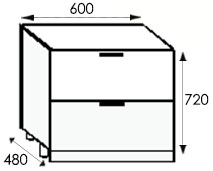 Кухни на заказ, размеры каркасов тумбы с ящиками