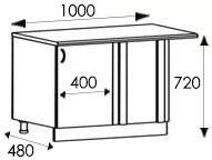 Кухни, размеры каркасов угловой тумбы